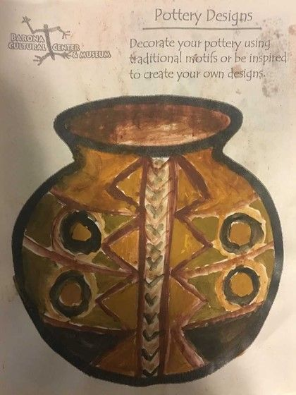 Drawing of pottery design from workshop held by Barona Cultural Center and Museum.